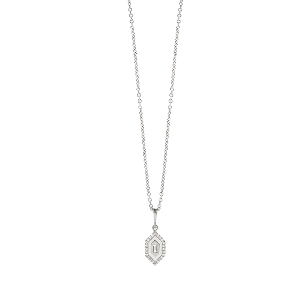 """N/S Small Diamonds White Enamel Necklace"""
