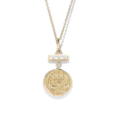 """Of the sea small diamond coin with triple baguette necklace"""