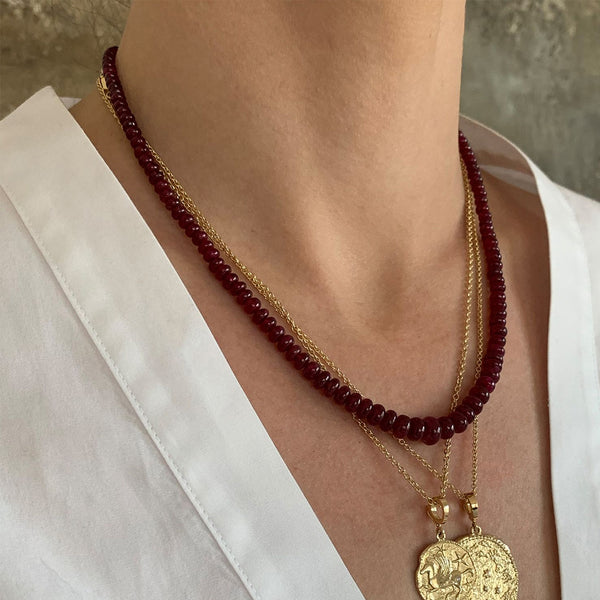 """RICH RUBY BEAD"" NECKLACE"