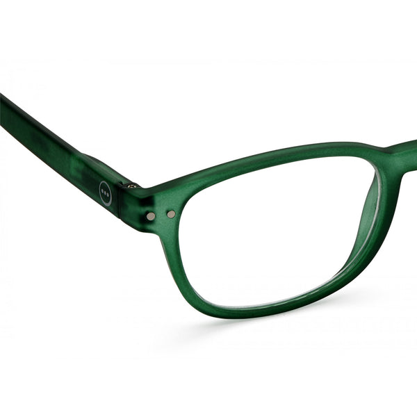 """B"" Green Crystal Reading Glasses"
