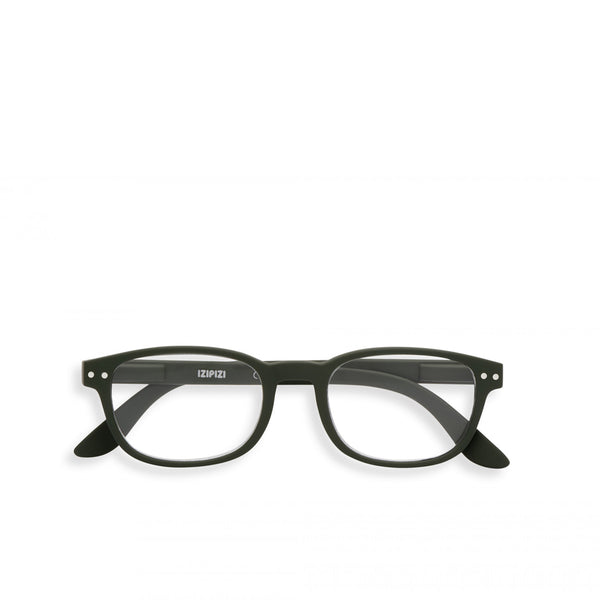 """B"" Kaki Green Reading Glasses"