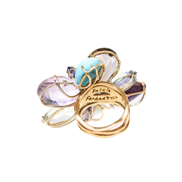 """RAY OF LIGHT"" FANCY, MULTICOLOUR COCKTAIL 18K GOLD RING"