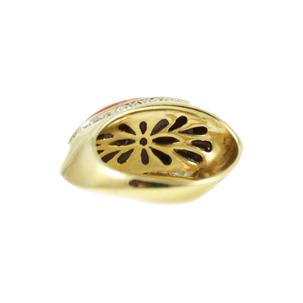 """Exceptional Coral and Diamonds"" 18K Gold Ring"