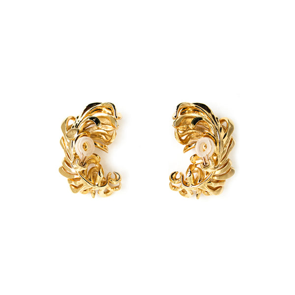 """Tickle Me Feather"" Gold Clip-On Earrings"