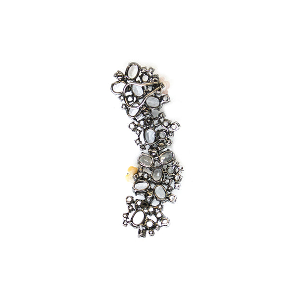 """A Fine White Topaz, Mother of Pearl and Diamond"" 18K Gold Ear Cuff"