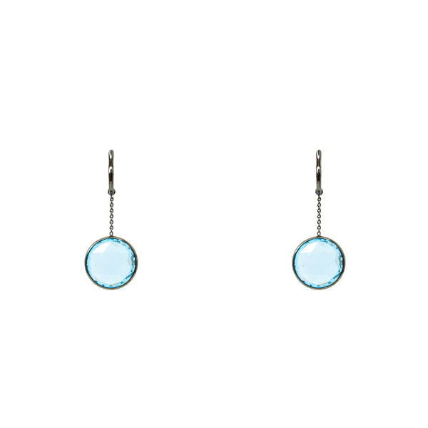 """Swiss Blue Topaz"" 18K Gold Earrings"