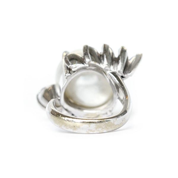 """Cultured Pearl and Diamond"" Ring"