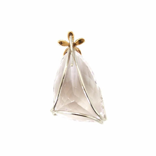 KUNZITE, DIAMOND & 18K GOLD PENDANT