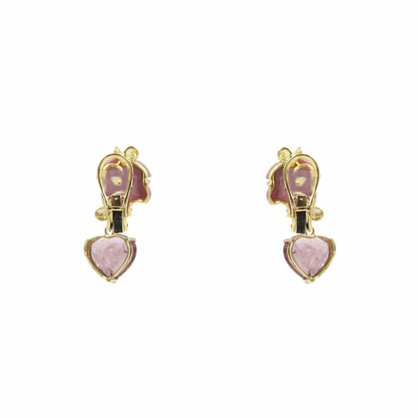 """Rhodochrosite and Pink Tourmaline"" 18K Gold Earrings"