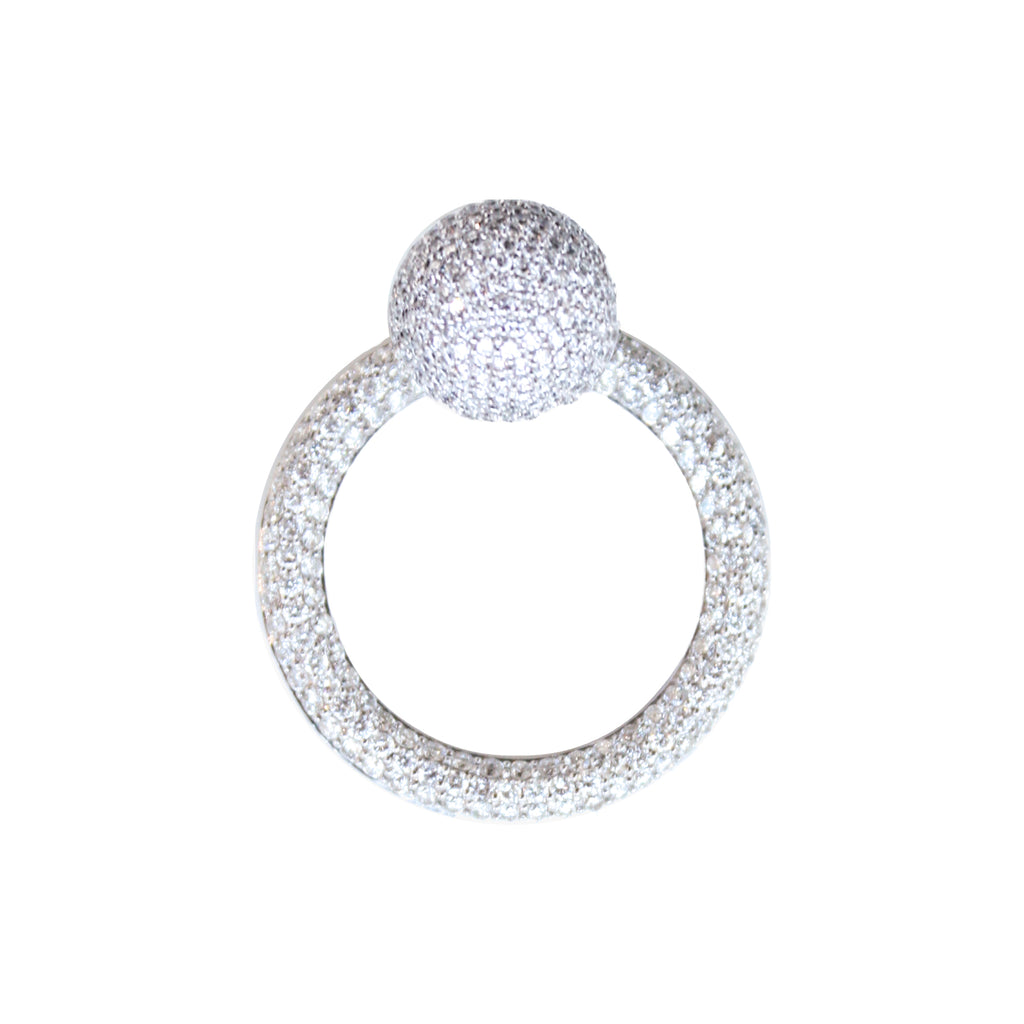 """WHITE DIAMONDS HOOP WITH BALL"" EARRING"