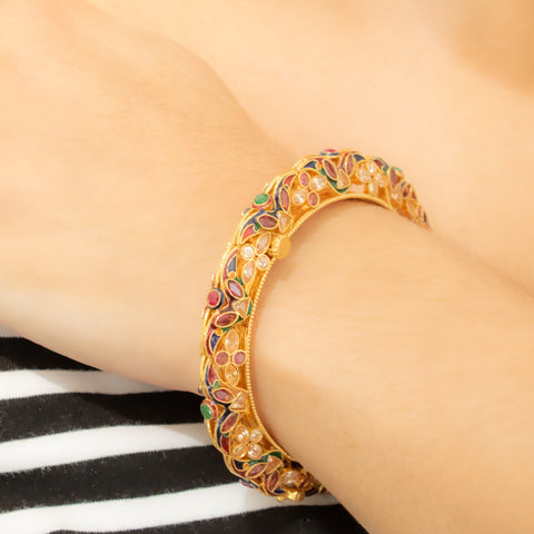 """22k Yellow Gold and Tourmaline Bangle"" Bracelet"