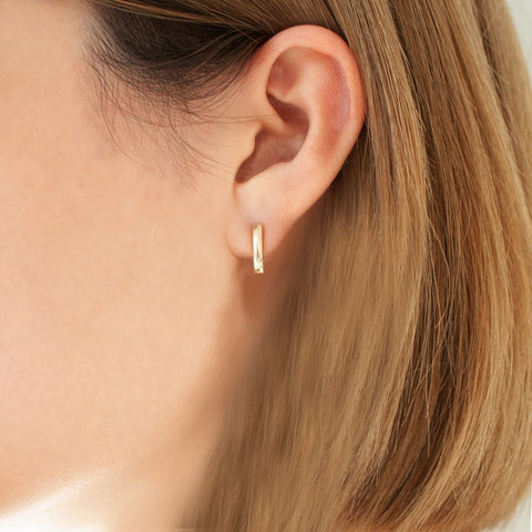 """BASIC1"" 18K YELLOW GOLD POST-FASTENING EARRING"