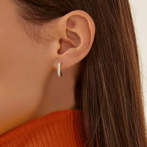 """BASIC4"" 18K YELLOW GOLD POST-FASTENING EARRING"