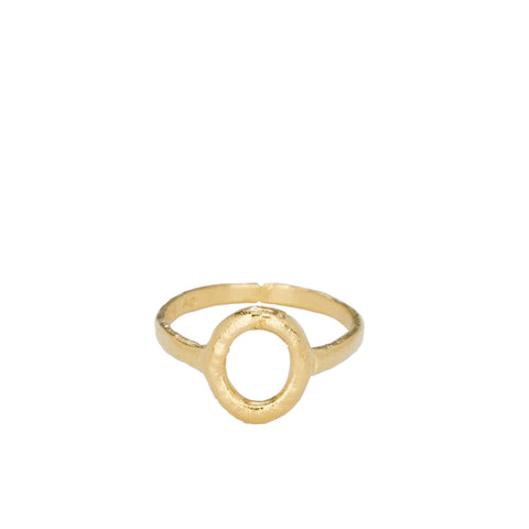 """ALPHABET O"" YELLOW GOLD-PLATED RING"