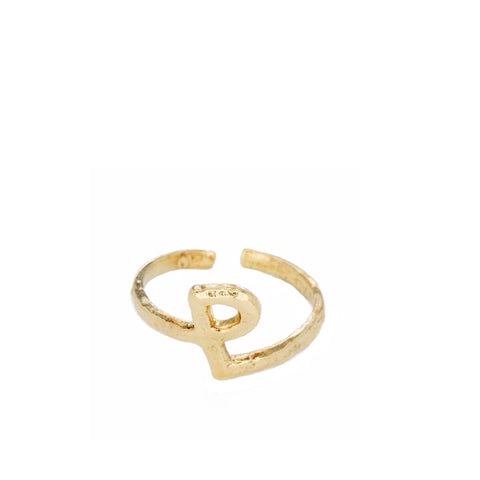 """ALPHABET P"" YELLOW GOLD-PLATED RING"