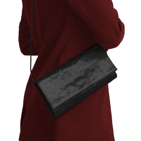 MEDIUM BLACK SATIN CLUTCH