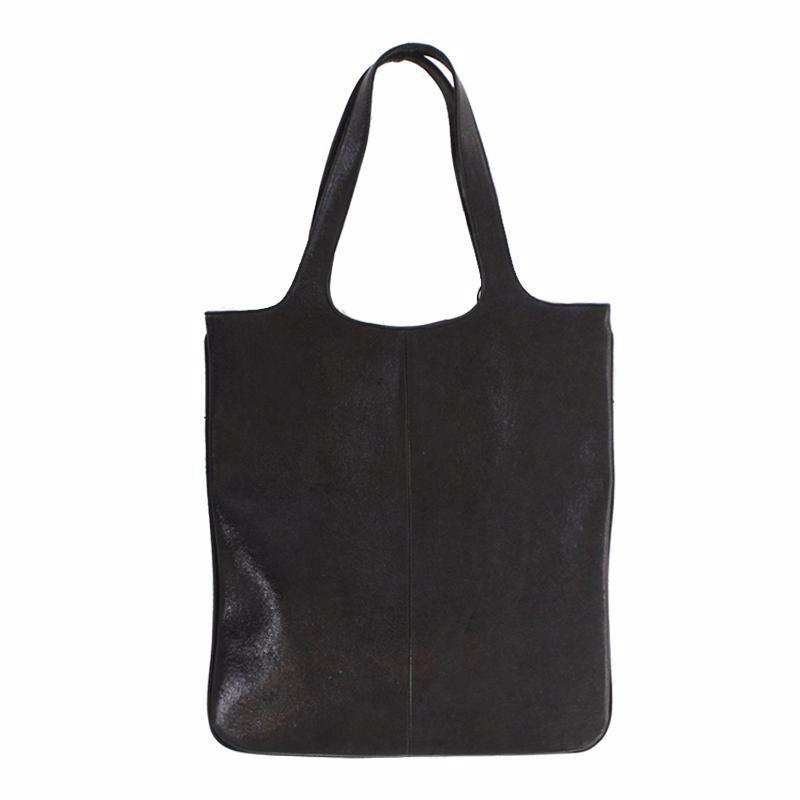 """Metallic Leather Black Shopper"" Bag"