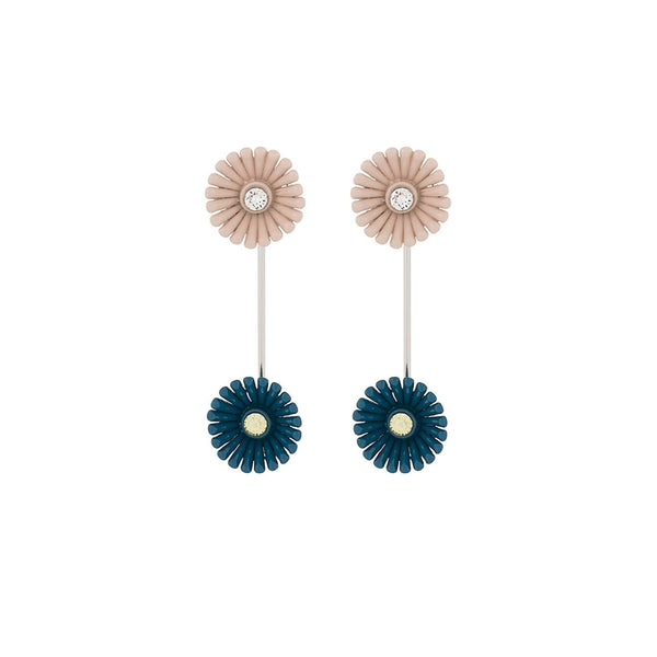 """FLORA SCREW EARRINGS"" ENAMELLED FLOWERS AND STRASS BLUE"