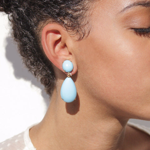 """Turquoise"" 18K Gold Earrings"