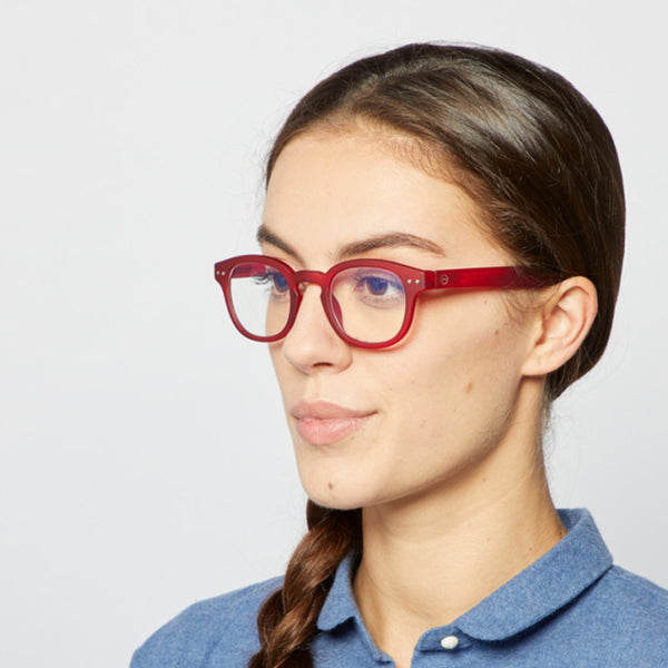 """C"" Red Crystal SCREEN Reading Glasses"