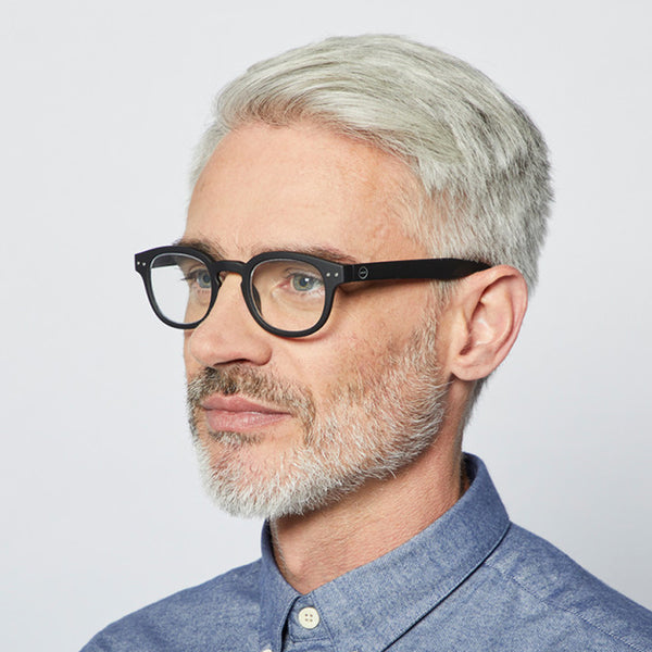 """C"" Black Reading Glasses"