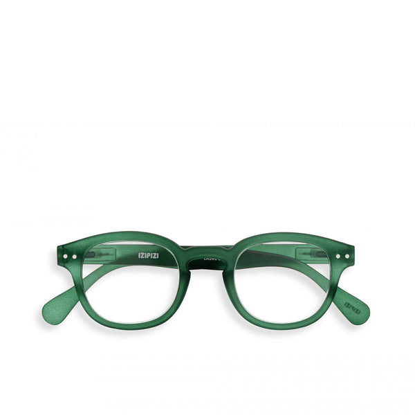 """C"" Green Crystal Reading Glasses"