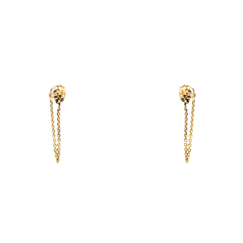 """Textured Liminal Stud& Chain"" 14K Gold Earrings"