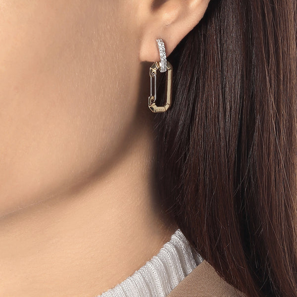 """CHIARA"" SMALL YELLOW & WHITE GOLD MONO EARRING WITH DIAMONDS"