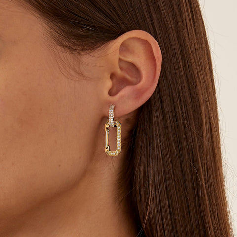 """CHIARA"" SMALL FULL DIAMOND PAVÉ & YELLOW GOLD MONO EARRING"