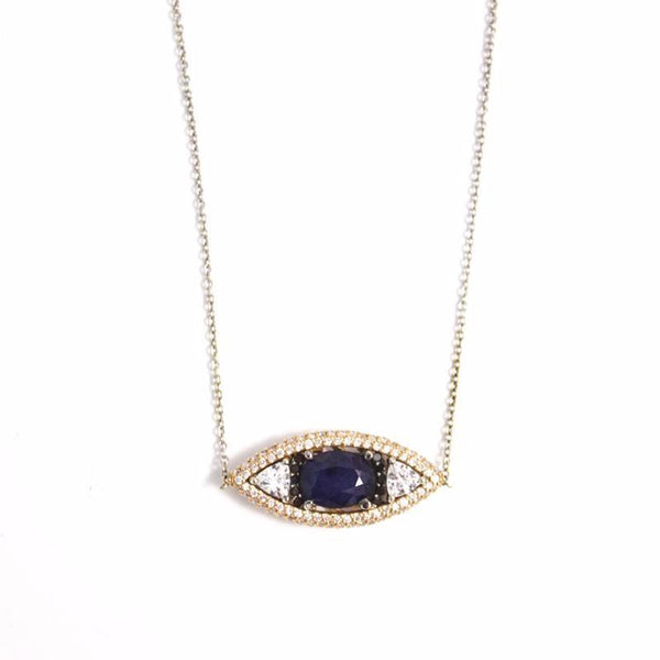 """ The Eye"" 18K Gold, Diamonds & Blue Sapphire Pendant  Necklace"
