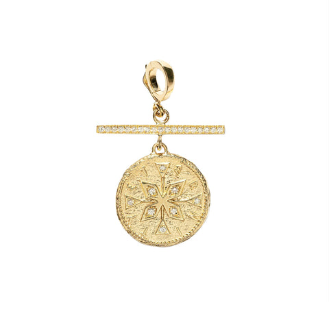 """SMALL COMPASS DIAMOND WITH PAVE BAR"" CHARM"