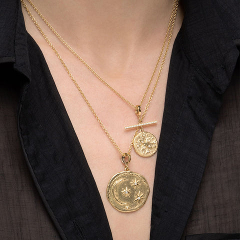 """COMPASS SMALL DIAMOND COIN WITH PAVE BAR"" NECKLACE"