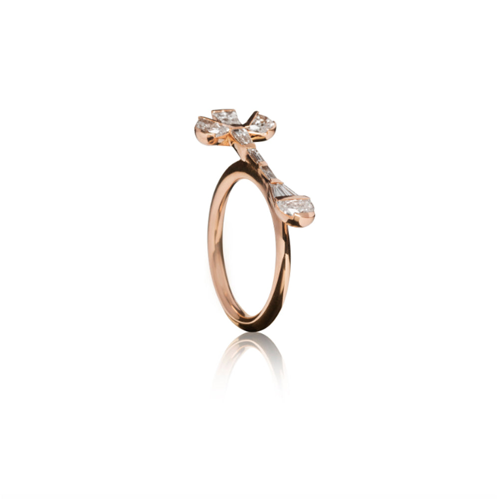 """CROCUS"" WHITE DIAMONDS & ROSE GOLD RING"