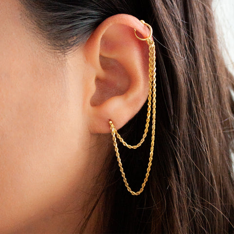 """18k Yellow Gold Double Chain and Cuff"" Mono Earring"