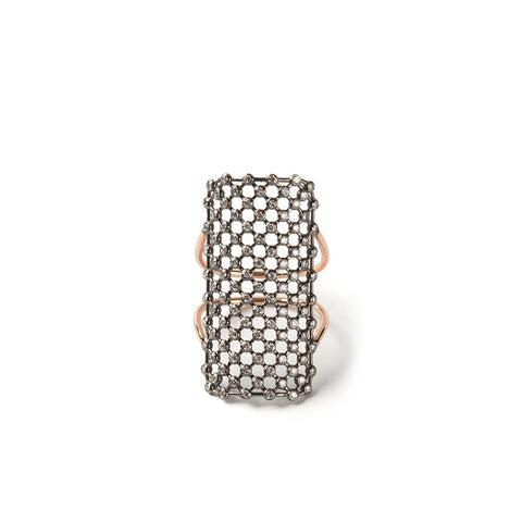 """RECTANGLE MESH"" 18K GOLD RING"