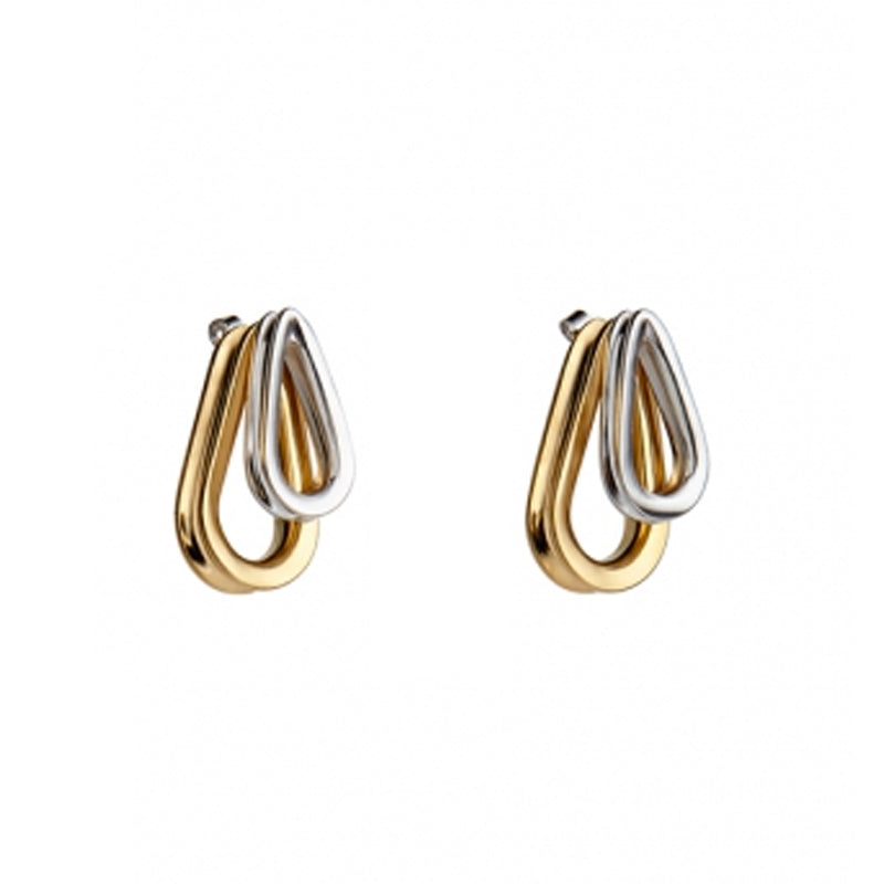 """Ellipse Medium Double Bicolored"" Earrings"