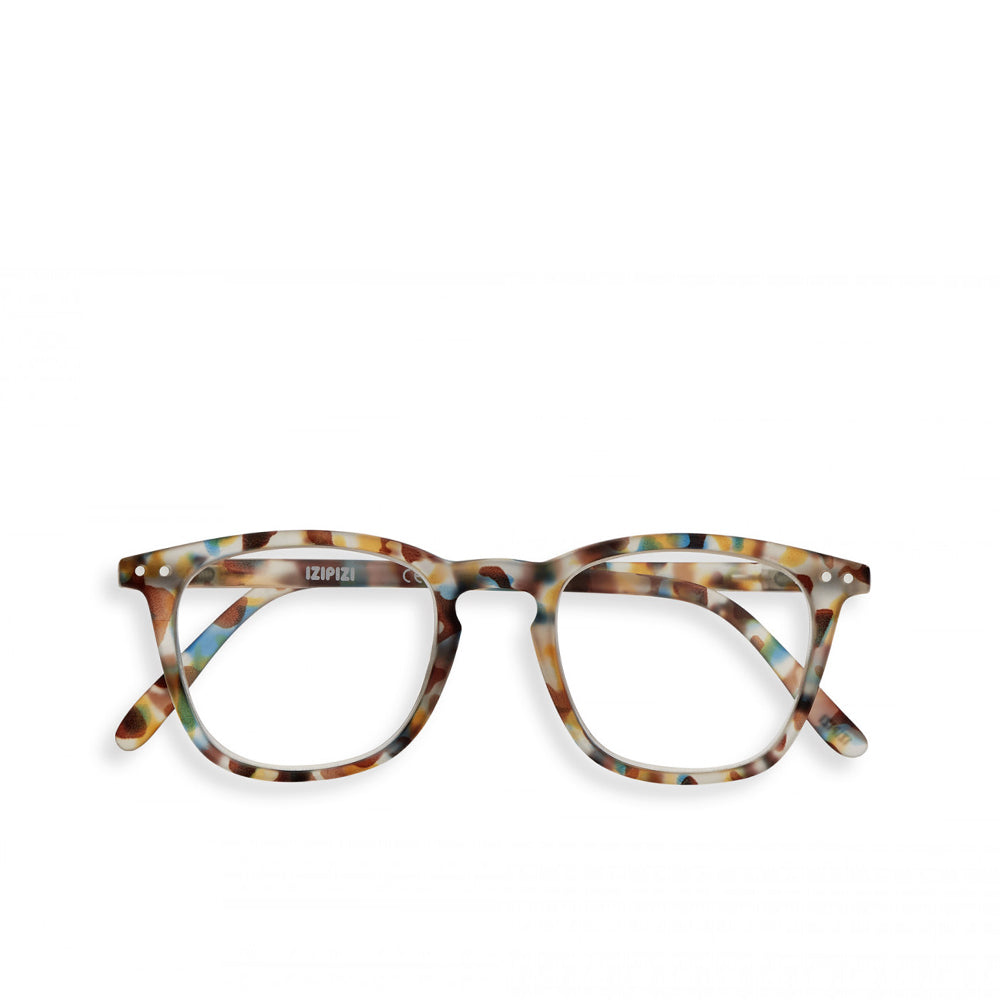 """E"" Blue Tortoise Reading Glasses"