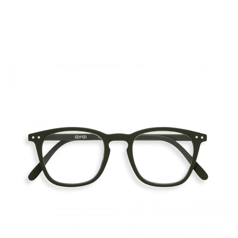 """E"" Kaki Green Reading Glasses"