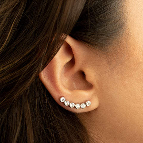 """18k White Gold and 6 Diamond Row Mono Ear Crawler"" Earring"