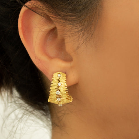 """18k Gold and Diamond Ear Clip"" Earrings"