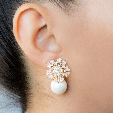 """Baguette White"" Earrings"
