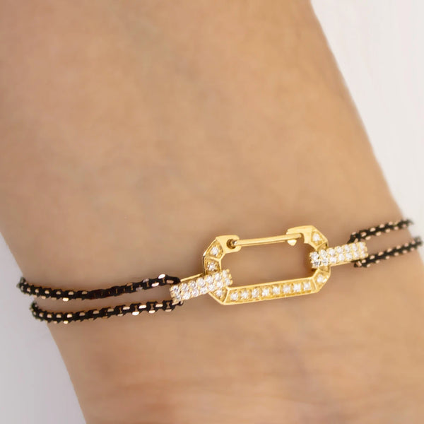 """LUCY"" YELLOW & WHITE GOLD / BLACK BRACELET WITH DIAMONDS"