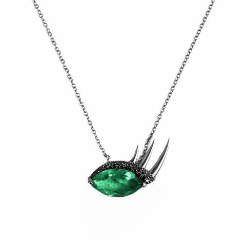 "EMERALD ""EYE PENDANT"" 18K GOLD NECKLACE"