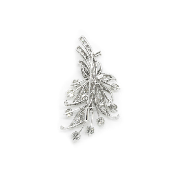 """14K White Gold Floral Bouquet with Ribbon Tie"" Brooch"