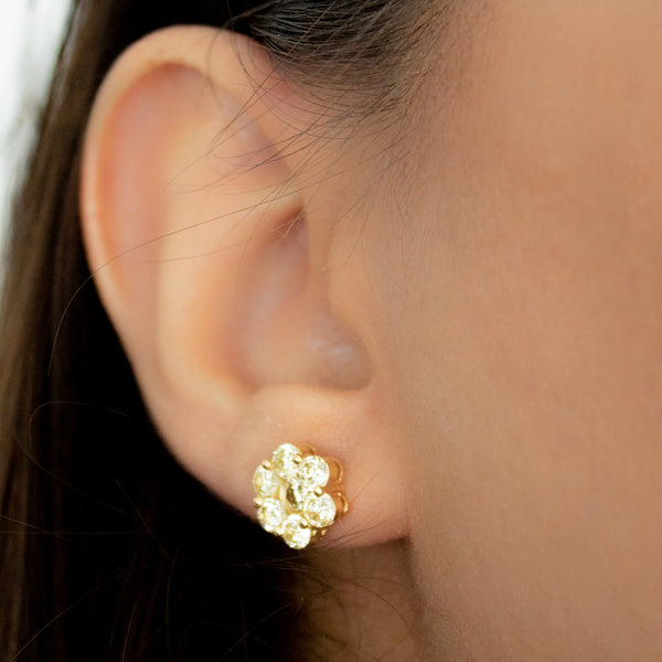 """Diamond Floral Ear Medium"" Studs"