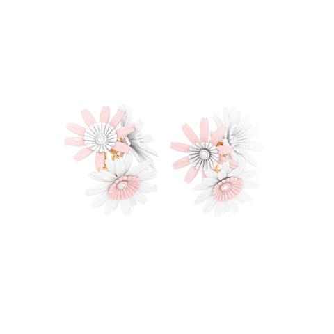 """FLORA CLIP-ON ENAMELLED"" WHITE AND PINK EARRINGS"