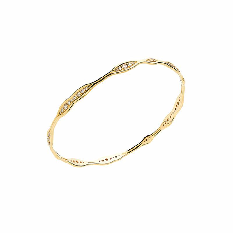 """Fluid Diamonds"" 18k Gold Bangle"