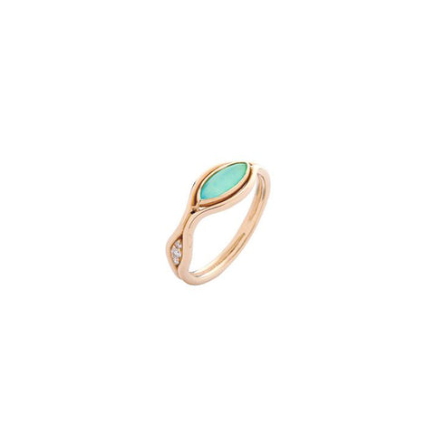 """Fluid Diamonds and Stone Band"" 18k Gold Ring"
