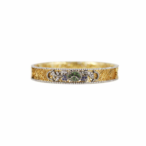"""CHINA GARDEN"" 18K GOLD, DIAMOND, BLUE SAPPHIRE & TSAVORITE BANGLE"