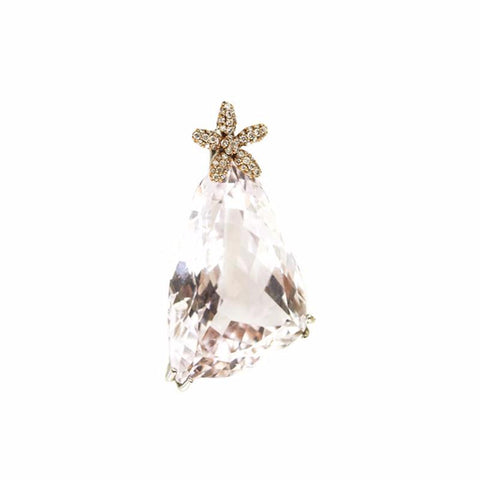 """Kunzite and Diamond"" 18K Gold Pendant"
